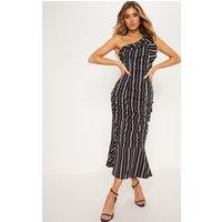 Black Pinstripe One Shoulder Ruched Fishtail Midi Dress