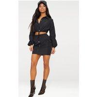 Black Shell Suit Mini Skirt