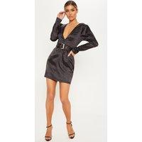 Black Floral Satin Belted Bodycon Dress