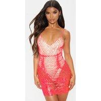 Neon Pink Glitter Diamond Strappy Plunge Bodycon Dress
