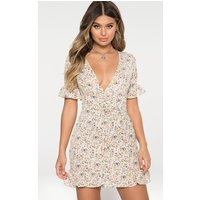 White Floral Corset Swing Dress