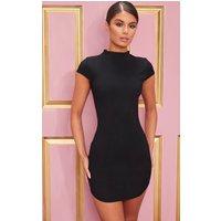 Black High Neck Ribbed Bodycon Dress