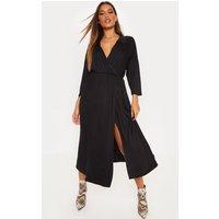 Black Jersey Wrap Midi Shirt Dress