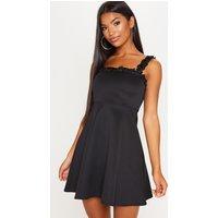 Black Floral Strap Skater Dress
