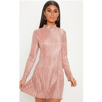 Dusty Pink High Neck Plisse Swing Dress