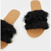 Black Tassel Pom Pom Mule Sandal