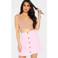 Baby Pink Button Front Linen Feel Mini Skirt