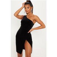 Black Velvet Glitter One Shoulder Mini Dress