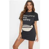 Charcoal Something And Nothing Slogan T Shirt Dress