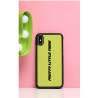 PRETTYLITTLETHING Neon Lime Logo 10/X/XS iPhone Case, Neon Lime