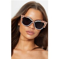 Black Pointy Cat Eye Exaggerated Gemstone Border Glasses