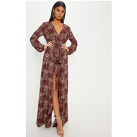 Brown Leopard Print Satin Plunge 2 In 1 Maxi Dress