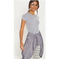 Basic Grey Jersey Fitted Short Sleeve Bodysuit, Grey