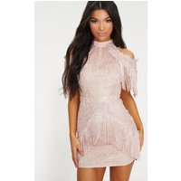 Image of Dusty Pink Cold Shoulder Lace Tassel Trim Bodycon Dress, Dusty Pink