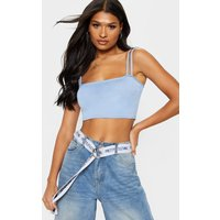Baby Blue Jersey Double Strap Crop Top