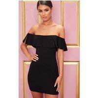 Basic Black Bardot Frill Detail Bodycon Dress