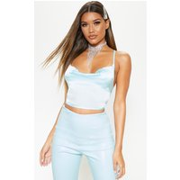Aqua Satin Strappy Back Cowl Neck Cami