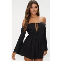 Black Bardot Tassel Tied Beach Dress