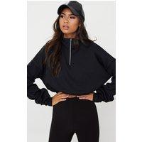 Black Rib Zip Front Long Sleeve Sweater