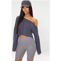 Charcoal Blue Off Shoulder Sweater