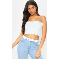 Baby Blue Rib Frill Detail Cami Crop Top