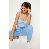 Baby Blue Embroidered Cherry Rib Crop Top
