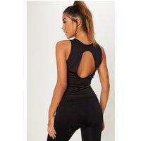 Black Open Back Gym Vest Top