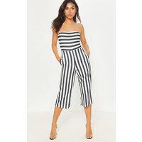 Monochrome Contrast Stripe Bandeau Culotte Jumpsuit