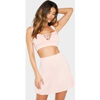 Baby Pink Frill Detail Crop Top