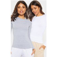 Basic White & Grey 2 Pack Long Sleeve Fitted T Shirt