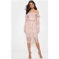 Image of Dusty Pink Bardot Lace Frill Sleeve Midi Dress, Dusty Pink