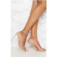 Beige Clear Flat Heel Strappy Sandal