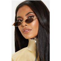 Brown Slim Metal Frame Oval Glasses