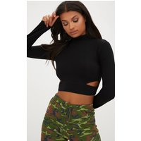 Black High Neck Longsleeve Cut Out Crop Top