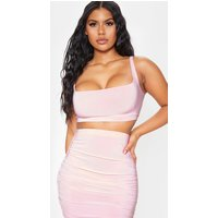 Baby Pink Second Skin Slinky Square Neck Crop Top