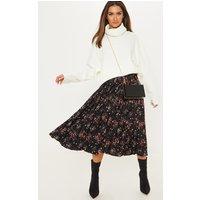 Black Floral Print Pleated Midi Skirt