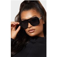 Black Flat Top Matt Resin Frameless Sunglasses