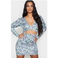Cream Dollar Print Puff Sleeve Cut Out Bodycon Dress