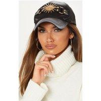 Black Satin Sun Charm Baseball Cap