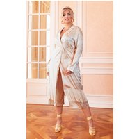 Plus Cream Satin Tassel Hem Robe Tie Duster Jacket