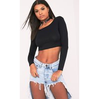 Basic Jersey Black Long Sleeve Crop Top, Black