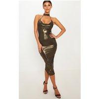 Gold Choker Detail Cowl Neck Metallic Midi Dress