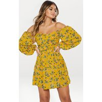 Mustard Floral Balloon Sleeve Swing Dress