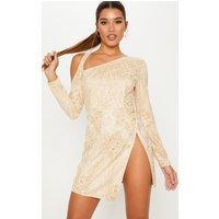 Gold Glitter Asymmetric Shoulder Wrap Bodycon Dress