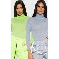 Basic Grey & Lime 2 Pack Roll Neck Long Sleeve Bodysuit