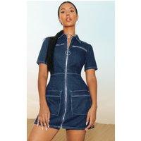 Mid Wash Zip Detail Denim Bodycon Dress