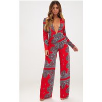 Red Scarf Print Long Sleeve Plunge Jumpsuit
