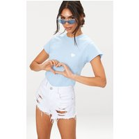 Baby Blue Love Heart Jersey T Shirt