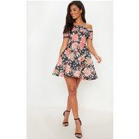 Black Floral Bonded Scuba Bardot Skater Dress