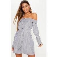 Black Stripe Bardot Button Through Shirt Dress